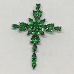Jewelry - Silver Green Quartz Cross